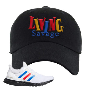 Ultra Boost White Red Blue Dad Hat | Black, Living Savage