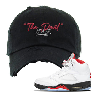 Air Jordan 5 OG Fire Red Distressed Dad Hat | Black, Devil Is A Lie