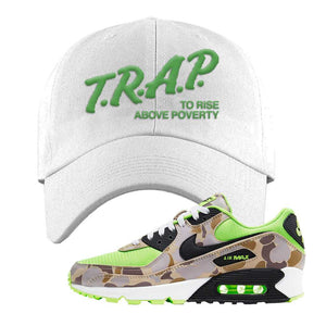 Air Max 90 Duck Camo Ghost Green Dad Hat | White, Trap To Rise Above Poverty