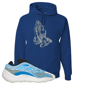Yeezy 700 v3 Azareth Hoodie | Royal Blue, Praying Hands