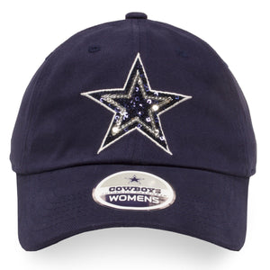 Dallas Cowboys Women's Shimmering Rhinestone Logo Navy Blue Adjustable Dad Hat