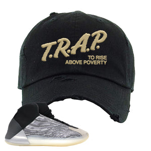 Yeezy Quantum Distressed Dad Hat | Black, Trap To Rise Above Poverty