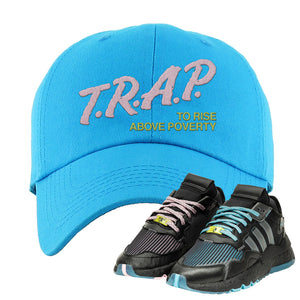 Ninja x adidas Nite Jogger Dad Hat | Trap To Rise Above Poverty, Blue Aqua