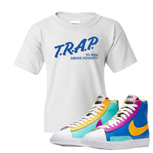 Blazer Mid Big Kids T Shirt | White, Trap To Rise Above Poverty