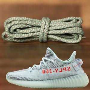 Match your pair of Yeezy 350 V2 Blue Tint  with these teal blue rope lace reflective yeezy matching shoe laces