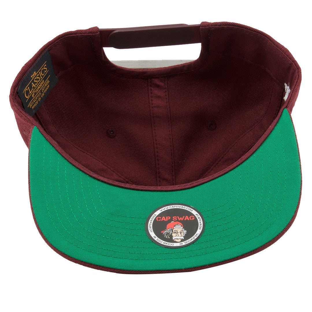 5e65aec4b38 ... on the underbrim of the bullies retro jordan 6 maroon matching snapback  there is a green