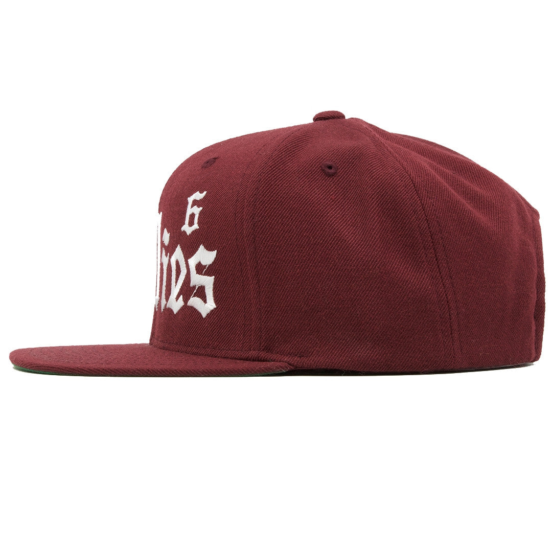 ... cheap the bullies retro jordan 6 maroon snapback has a high crown and a  flat brim 41cbfa8b59be