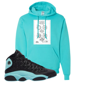 Diamond Patent Scuba Blue Pullover Hoodie To Match Jordan 13 Island Green Sneakers