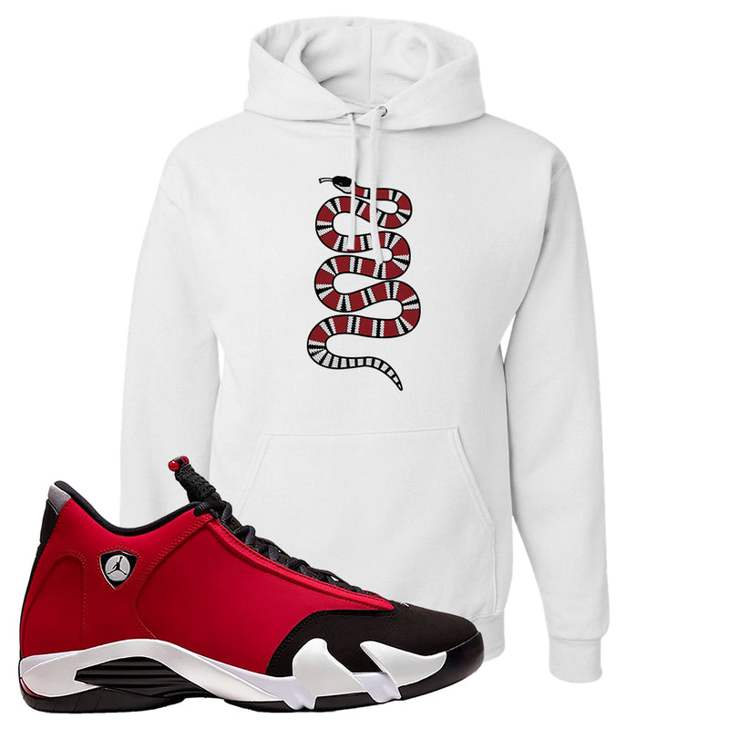 Air Jordan 14 Gym Red Hoodie | White, Coiled Snake