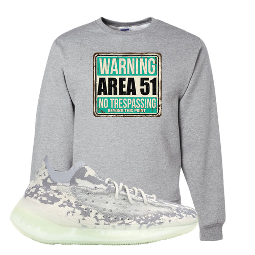 Yeezy Boost 380 Alien Area 51 Sign Athletic Heather Sneaker Matching Crewneck Sweatshirt