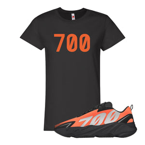 700 Black Women's T-Shirt to match Yeezy Boost 700 MNVN Orange Sneaker
