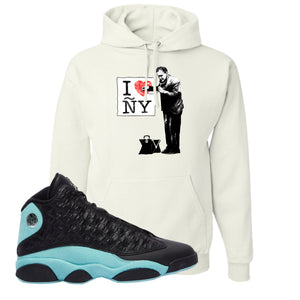 I Heart ÑY Doctor White Pullover Hoodie To Match Jordan 13 Island Green Sneakers