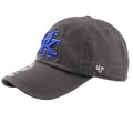 embroidered on the left side of the university of kentucky charcoal dad hat is the '47 brand logo embroidered in white