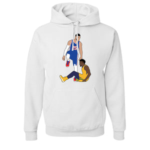 Simmons Step Over Pull Over Hoodie | Ben Simmons Step Over White Pullover Hoodie the front of this hoodie has the simmons stepover
