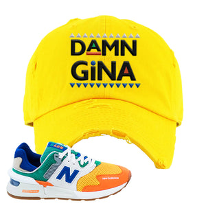 997S Multicolor Sneaker Yellow Distressed Dad Hat | Hat to match New Balance 997S Multicolor Shoes | Damn Gina