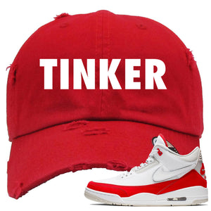 This red and white dad hat will match great with your Jordan 3 Tinker Air Max shoes