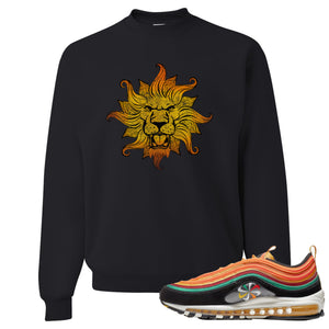 Printed on the front of the Air Max 97 sunburst black sneaker matching crewneck sweatshirt is the Vintage Lion head logo