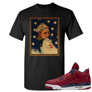 Jordan 4 FIBA Navy Sailor Pin Up Woman Black Sneaker Matching Tee Shirt