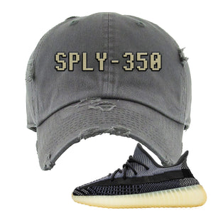Yeezy Boost 350 V2 Asriel Carbon Distressed Dad Hat | SPLY-350, Dark Gray