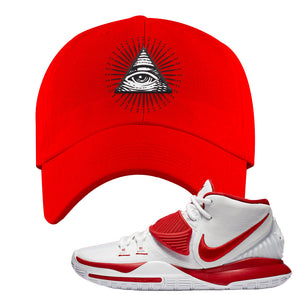 Kyrie 6 White University Red Dad Hat | All Seeing Eye, Red