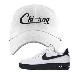 Air Force 1 Low White Black Dad Hat | White, Chiraq