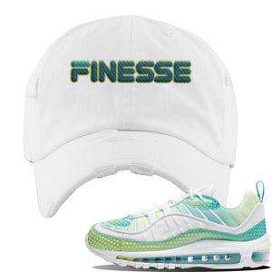 WMNS Air Max 98 Bubble Pack Sneaker White Distressed Dad Hat | Hat to match Nike WMNS Air Max 98 Bubble Pack Shoes | Finesse