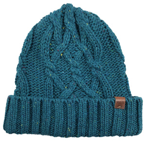 the teal women's cable knit winter beanie is teal with cable knit