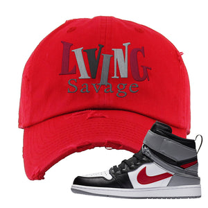 Air Jordan 1 Flyease Distressed Dad Hat | Red, Living Savage