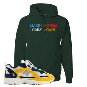 827 Abzorb Multicolor Yellow Aime Leon Dore Sneaker Forest Green Pullover Hoodie | Hoodie to match 827 Abzorb Multicolor Yellow Aime Leon Dore Shoes | Runner's Aren't Normal