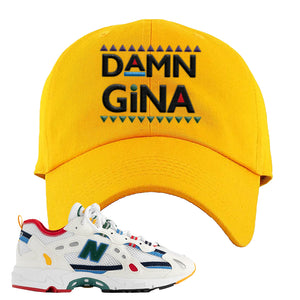 Aime Leon Dore X New Balance 827 Abzorb Multicolor 'White' Dad Hat | Gold, Damn Gina