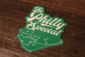 Philly Special Sticker | Philly Special Play Diagram Kelly Green Sticker the front of this sticker has the philly special diagram