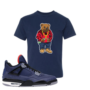 Jordan 4 WNTR Loyal Blue Sweater Bear Navy Sneaker Hook Up Kid's T-Shirt