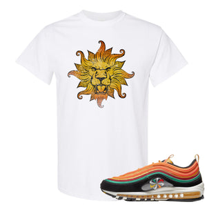 Printed on the front of the Air Max 97 Sunburst white sneaker matching t-shirt is the Vintage Lion Head logo