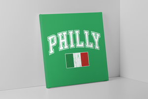 Philly Italian Flag Canvas | Philly Italian Flag Kelly Green Wall Canvas the front of this canvas has the philly italian flag on it