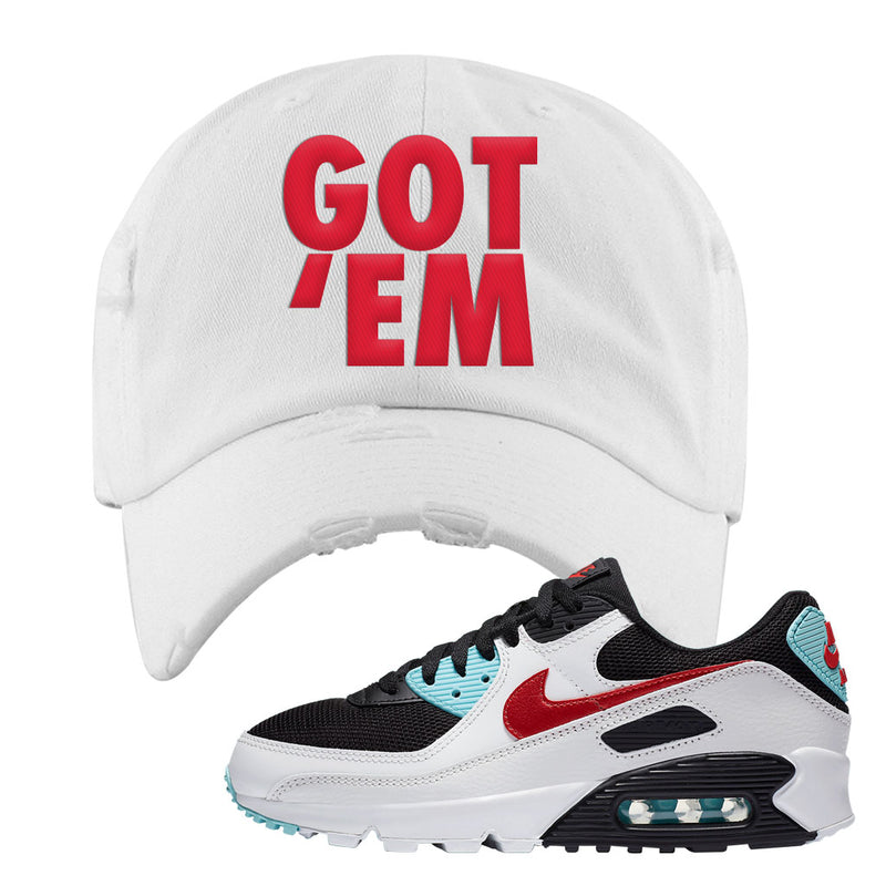 Air Max 90 Bleached Aqua and Chile Red Distressed Dad Hat | White, Got Em