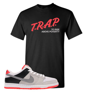 Nike SB Dunk Low Infrared Orange Label Trap To Rise Above Poverty Black T-Shirt To Match Sneakers