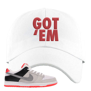 Nike SB Dunk Low Infrared Orange Label Got Em White Dad Hat To Match Sneakers