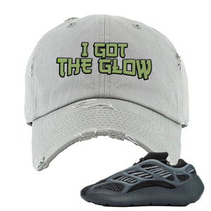 Yeezy Boost 700 V3 Alvah Sneaker Light Gray Distressed Dad Hat | Hat match Adidas Yeezy Boost 700 V3 Alvah Shoes | I Got The Glow