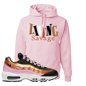 Air Max 95 WMNS Copper and Gold Pullover Hoodie | Living Savage, Classic Pink