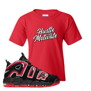 Air More Uptempo Laser Crimson Hustle & Motivate Red Sneaker Hook Up Kid's T-Shirt