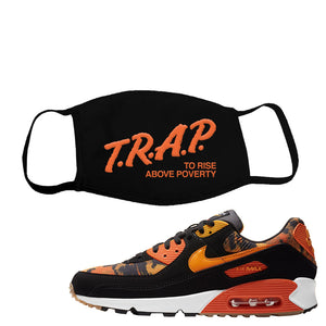 Air Max 90 Orange Camo Face Mask | Trap To Rise Above Poverty, Black