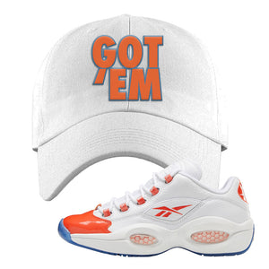 Question Low Vivid Orange Dad Hat | Got Em, White