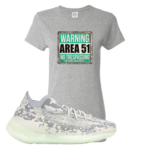 Yeezy Boost 380 Alien Area 51 Sign Sport Gray Sneaker Matching Women's T-Shirt