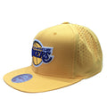The Los Angeles Lakers yellow snapback hat features a yellow structured crown and a yellow flat brim