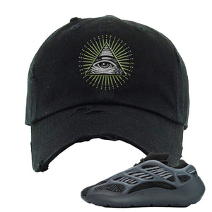 Yeezy 700 V3 Alvah Distressed Dad Hat | Black, All Seeing Eye