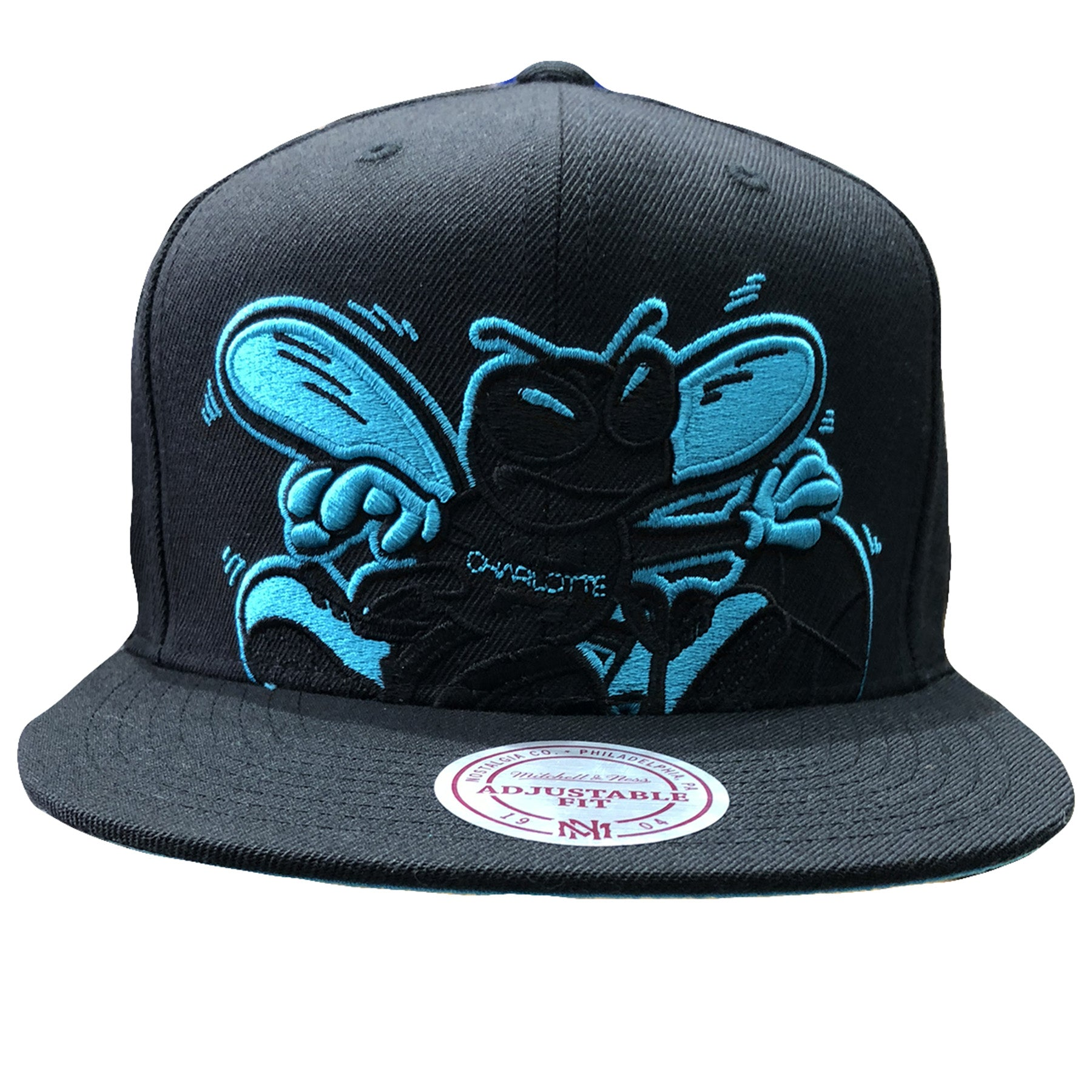 official photos e19d4 68d3a Embroidered on the front of the charlotte hornets mitchell and ness extra  large logo snapback hat