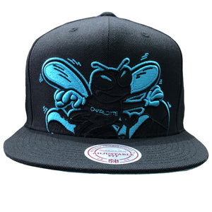 Embroidered on the front of the charlotte hornets mitchell and ness extra large logo snapback hat is the charlotte hornets logo