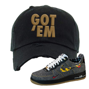 Air Force 1 Low Plaid And Camo Remix Pack Distressed Dad Hat | Got Em, Black