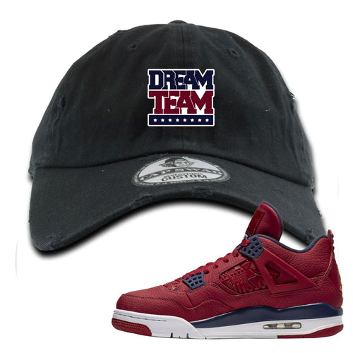 Jordan 4 FIBA Dream Team Black Sneaker Matching Distressed Dad Hat