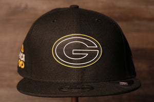 Packers 2020 NFL Draft Snapback Hat | Green Bay Packers NFL Draft 2020 Snap Cap the front of this cap has the packers logo and a flat brim